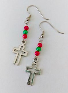 $8.50 - Cross Charm Earrings by HerSassyCreations #etsy #fashion #handmade Click now to buy!