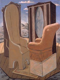 Giorgio de Chirico - Mobili nella valle  1927 Harlem Renaissance, Magritte, Dali, Miro, Art Deco, Magic Realism, Portrait Art, Portraits, Weird Creatures