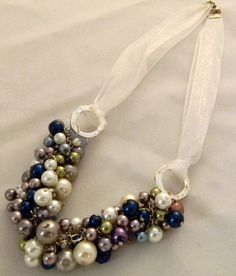 Detailed pearl necklace with ribbon by MisfitJewelry1 on Etsy, $20.00
