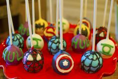 Super Hero Cake pops #superheroes