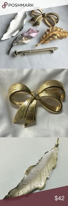 "Vintage Designer Brooches Lot Of 5 Five gold and silver tone vintage brooches. Sizes 2"" Two brooches signed ""Coro"". All are in excellent condition. Please see individual pics. Coro Jewelry Brooches"