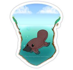 'Ornithorhynchus anatinus' Sticker by chamba Baby Platypus, Duck Billed Platypus, New Shirt Design, Animal Nursery, Tasmania, Mammals, Fairytale, Fun Facts, Insects