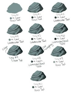 Quick scribbly rock tutorial for SAI by kohu-scribbles.deviantart.com on…