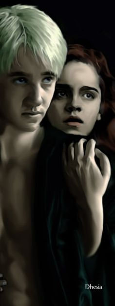 Harry Potter Dramione: Draco Malfoy and Hermione Granger © J.R and WB Digital art © Dhesia I don't know the artists's name (I think tha. Hermione Granger Fan Art, Draco And Hermione, Draco Malfoy, Harry Potter Artwork, Harry Potter Fan Art, Harry Potter World, Dramione, Drarry, Roman