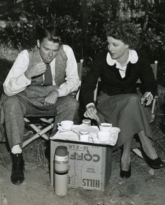 Ronald Reagan with Ann Sheridan on the set of Kings Row, 1942, directed by Sam Wood.