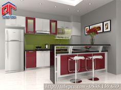 Tủ bếp đẹp kết hợp quầy bar nhỏ tiện nghi, sang trọng TBX104