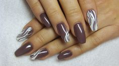 Brown and white nails