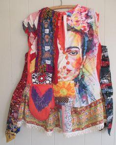 MyBonny Collage Clothing Wearable Folk Art - Frida Kahlo Abstract Face - Artisan Smock