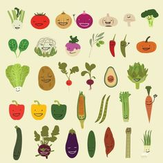 Happy Vegetables Illustration Print by NeatoNectarine on Etsy Vegetable Illustration, Vegetable Prints, Kitchen Wall Art, Food Illustrations, Healthy Kids, Fruit And Veg, Food Art, Etsy, Kawaii