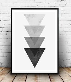 Triangle print, geometric design poster, home decor art, watercolor Minimalist wall art Triangle print Nordic style by Wallzilla Colorful Abstract Art, Abstract Wall Art, Abstract Print, Black Wall Art, Black Art, Geometric Poster, Geometric Art, Geometric Patterns, Modern Art Prints