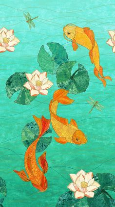 Shimmer Koi Pond Northcott Koi Fish Panel by Karen Sikie Pastel Wallpaper, Wallpaper Iphone Cute, Aesthetic Iphone Wallpaper, Aesthetic Wallpapers, Cute Wallpapers, Koi Wallpaper, Koi Art, Fish Art, Japanese Prints