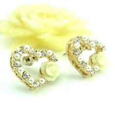Pearl And Heart-Shapped Earrings Gold - One Size