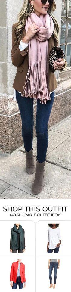 #winter #fashion / Camel Blazer Pink Fringe Scarf Navy Skinny Jeans