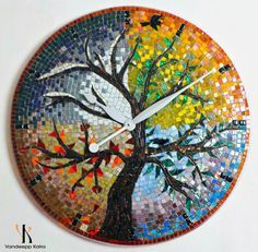 Seasons - Mosaic Clock + Mosaic Art featuring Glass mosaic tiles