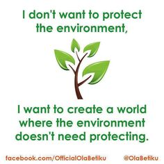 We shouldn't have to protect the environment.