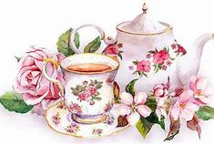 Cherry Blossom Vector, Cherry Blossom Watercolor, Watercolor Flowers, Vintage Tea, Vintage Cards, Vintage Flowers, Pink Flowers, Tea Art, Decoupage Paper