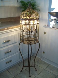 Vintage Shabby Birdcage Chandelier Prisms French Country Paris Chic Old World