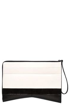 $1,250, White and Black Horizontal Striped Leather Clutch: Narciso Rodriguez Leather Suede Clutch. Sold by Nordstrom. Click for more info: http://lookastic.com/women/shop_items/111101/redirect