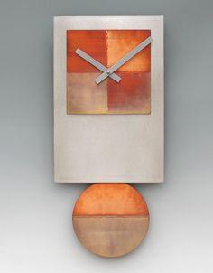 Steel Tie Pendulum Clock with Copper by Leonie Lacouette (Metal Clock) Coral Wall Art, Coral Walls, Metal Clock, Wooden Clock, Clocks Inspiration, Driftwood Wall Art, Pendulum Clock, Wall Clock Design, Diy
