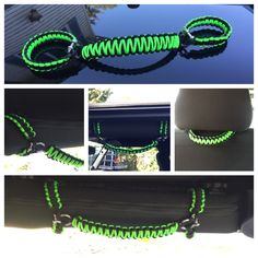DIY Jeep Wrangler grab handles in black and lime green