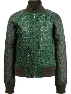 Sacai куртка-бомбер с кружевными панелями