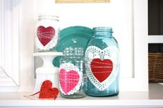 Valentine's Day Mason Jars with Doilies     For the mantle?