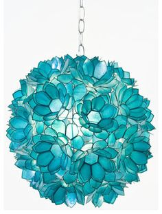 Worlds Away Venus Pendant Capiz Shell Floral, Turquoise eclectic pendant lighting