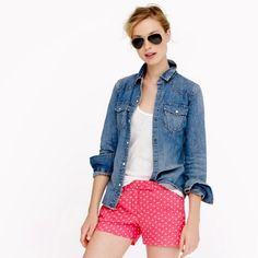 Polka dot linen shorts These shorts have been used gently, still in great condition. No rips and no stains. J. Crew Shorts