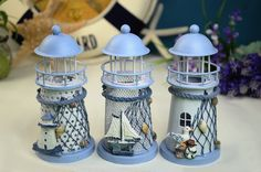 Free Shipping Mediterranean Style Seagull Sailboat Lighthouse Candle Holder Lantern Iron Decoration Nautical Decor Small Size-inCrafts from ...