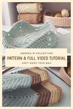 Soft Rope Tote Bag pattern by Andrea Marton Crochet Diy, Crochet Tote, Crochet Handbags, Crochet Purses, Crochet Stitches, Crochet Beach Bags, Free Crochet Bag, Bag Patterns To Sew, Crochet Patterns