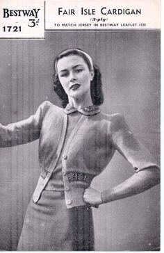 Free Vintage Knitting Pattern – Bestway 1721 Fair Isle Cardigan from WW2 | The Sunny Stitcher | Bloglovin'