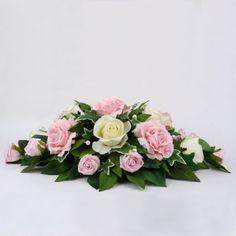 Ivory and Pink Top Table Arrangement Table Flower Arrangements, Ikebana Arrangements, Beautiful Flower Arrangements, Floral Centerpieces, Wedding Centerpieces, Church Flowers, Funeral Flowers, Arreglos Ikebana, Flower Boquet