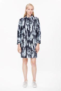 COS image 1 of Brush print denim dress in Dark Blue