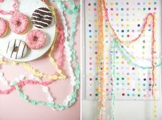 diy paper dots garland - from crepe paper Crepe Paper Garland, Crepe Paper Crafts, Beaded Garland, Tissue Paper, Party Girlande, Diy Girlande, Diy Birthday Decorations, Camp Decorations, Wedding Decorations