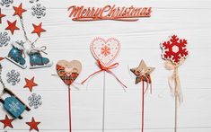 Download wallpapers Merry Christmas, light wooden background, decorations, Christmas, New Year