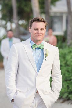 Summer Groom -- Seersucker + Bow Tie | See his wedding on Style Me Pretty-- http://www.StyleMePretty.com/southeast-weddings/2014/02/11/preppy-key-west-beach-wedding/ 1313 Photography