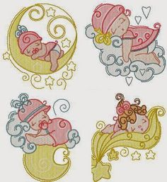 Dreams Free Embroidery: Sleeping Baby Girl Free Embroidery