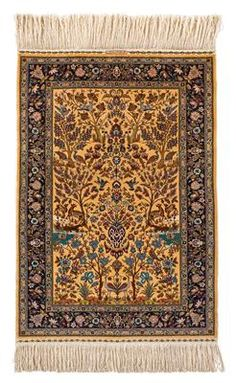 Hereke silk, 12 x 12,Northwest Anatolia (Turkey), c. 129 (133) x 89 cm, second half of the 20th century, yellow-ground silk carpet with Garden of Paradise in c. 1.44 mill. kts/sqm, brocaded weaving finish on both sides with the signature of the manufacturer on the upper front, perfect condition. (MA)