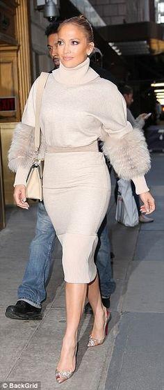 Jennifer Lopez in Cotton Jersey Sweatshirt Dress by Sally LaPointe