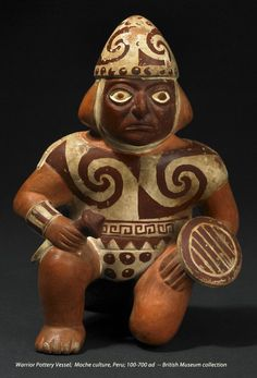 Warrior, ceramic vessel, Moche culture, Peru