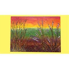 """Quadri Paesaggi. """"Rami d'autunno""""Il quadro a rilievo, rappresenta un piccolo paesaggio di campagna al tramonto, immaginato nella stagione autunnale, quando i rami secchi e spogli si evidenziano e lasciano le foglie verdi della stagione passata."""