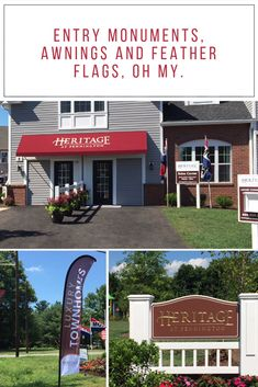 #Entrymonument, #featherflags 🚩 and #awning for American Properties' Heritage at Pennington located in Pennington, NJ!