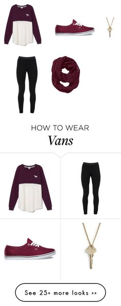 """""""maroon"""" by karenvelez on Polyvore featuring Victoria's Secret, Peace of Cloth, Vans, Athleta and The Giving Keys"""
