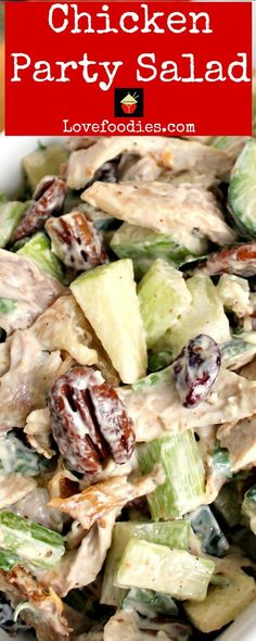 Chicken Party Salad is a great family recipe, very quick and easy to make and great tasting. Serve in lettuce wraps, sandwiches, on it's own, the sky's the limit! Party Salads, Party Dishes, Salad Dressing Recipes, Salad Recipes, Party Food Games, Salads For A Crowd, Cooking Recipes, Healthy Recipes, Healthy Food
