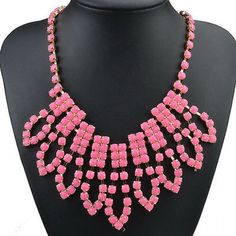 Rustic yet feminine, this pink necklace sits perfectly on your neckline, and can be worn with any style top. Set with beautiful pink coloured stones, all hanging perfectly off a gold plated chain for that extra touch of uniqueness.  http://youblue.co/pink-plated-bib-necklace.html