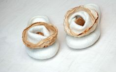 White hand felted slippers ECO ~ comfy and good for the planet!