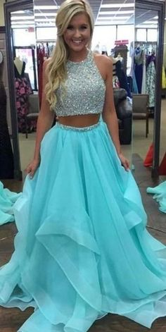 Two Piece Prom Dresses ,Sexy Beaded Prom Dress,Ice Blue Ruffles Long Prom Dress,Graduation Party Dresses, Open Back Evening Formal Gowns For Teen Girls Prom Dresses Two Piece, Cute Prom Dresses, Homecoming Dresses, Sexy Dresses, Beautiful Dresses, Fashion Dresses, Party Dresses, Evening Dresses, Dress Party