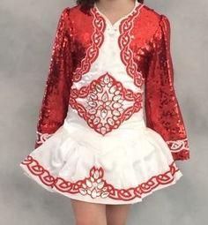 Cute Red Gavin Doherty Irish Dance Dress Solo Costume For Sale