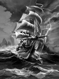 Pirate Ship Tattoos, Pirate Tattoo, Ship Tattoo Sleeves, Nautical Tattoo Sleeve, Poseidon Tattoo, Bateau Pirate, Old Sailing Ships, Sea Tattoo, Ship Drawing