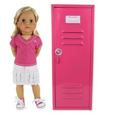 "18 Inch Doll Clothes Locker fit for American Girl Doll Bed Rooms & More! 18"" Doll Furniture of Pink Metal Doll Locker Sophia's http://www.amazon.com/dp/B008VDLNYA/ref=cm_sw_r_pi_dp_G044tb1XGKH4X"